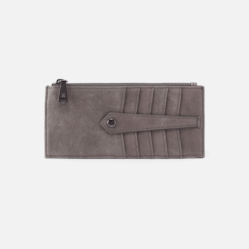 Linn Credit Card Wallet in Titanium by Hobo Handbags