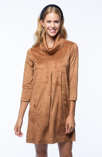 Kim Cowl Suede Dress in Vicuña by Tyler Boe