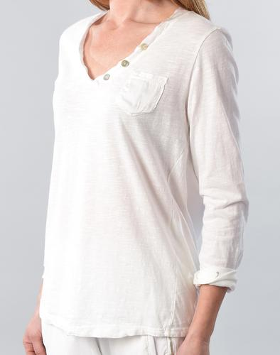 Pocket Long Sleeve Top with Button Detail in White by Suzy D