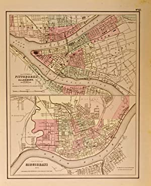 The City of Pittsburgh, Pennsylvania and Allegheny [and] The City of Cincinnati, Ohio [two maps on one sheet]