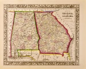 County Map of Georgia and Alabama