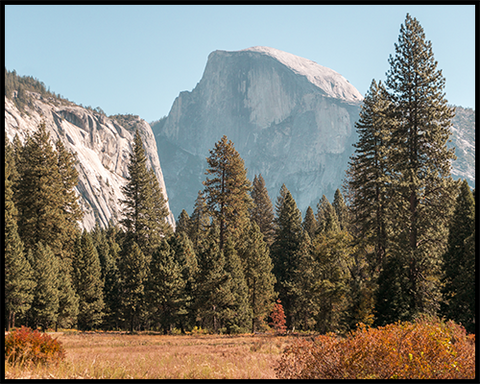 Half Dome in Yosemite National Park captured from Cook's Meadow. This poster features soft tones such as blue, orange and green.