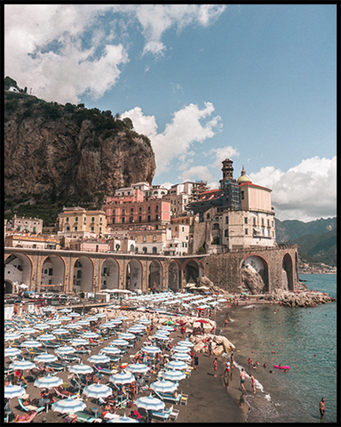 Poster featuring colorful umbrellas at the beach in Atrani (Italy) on a sunny summer day.