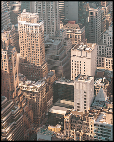 This New York City poster features an interesting view of the buildings in Manhattan.