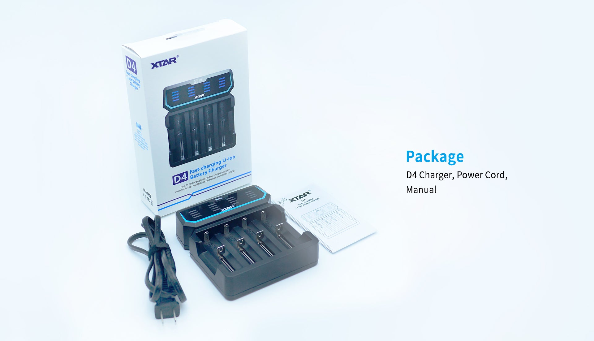 XTAR D4 - Fast-Charging Li-ion Battery Charger