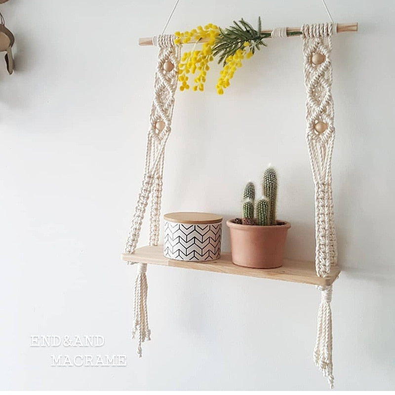Hand-Woven Macrame Tapestries Rack