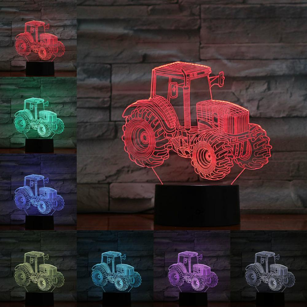 3D Tractor LED Night Lamp