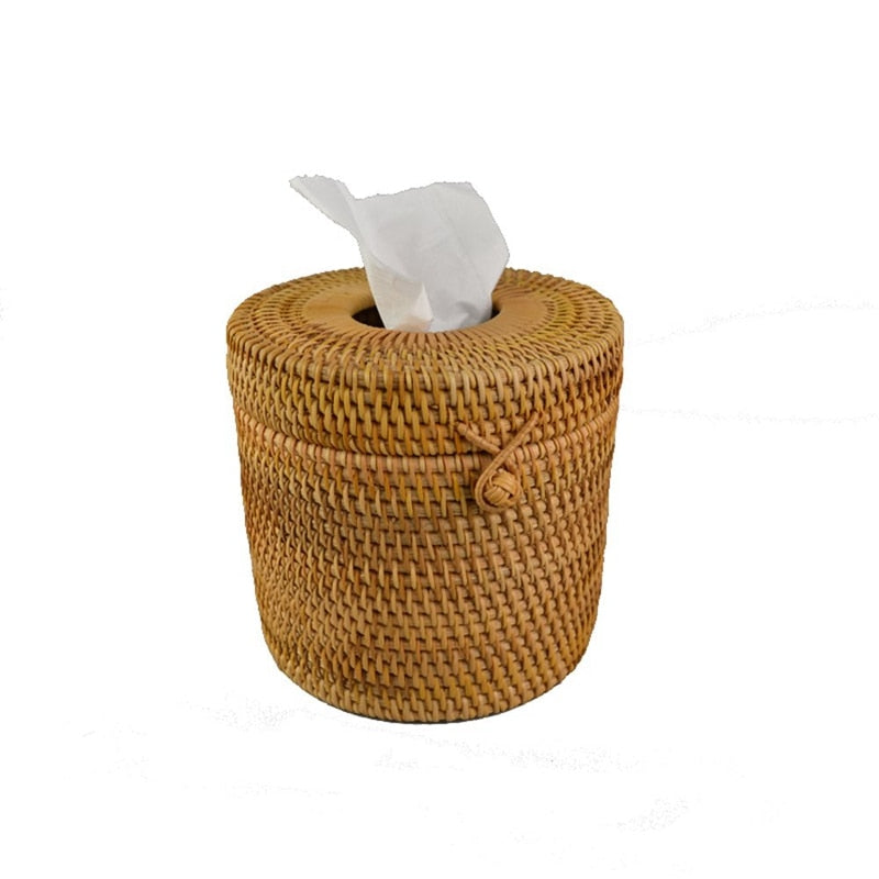 Round Rattan Handmade Tissue Dispenser