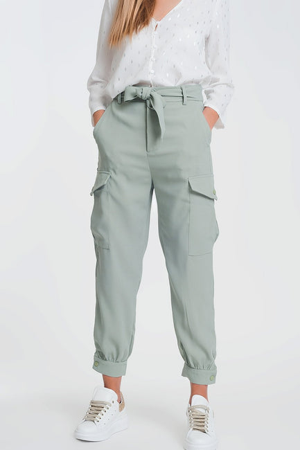 Cargo Straight Leg Pants With Pockets in Green - KRML_90210