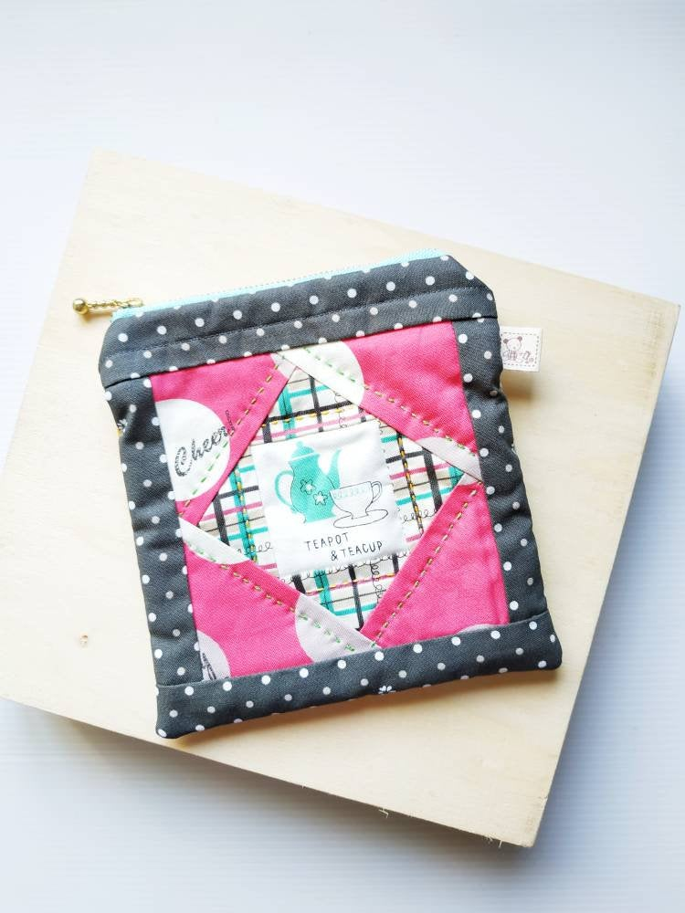 Teapot and teacup square patchwork zip pouch