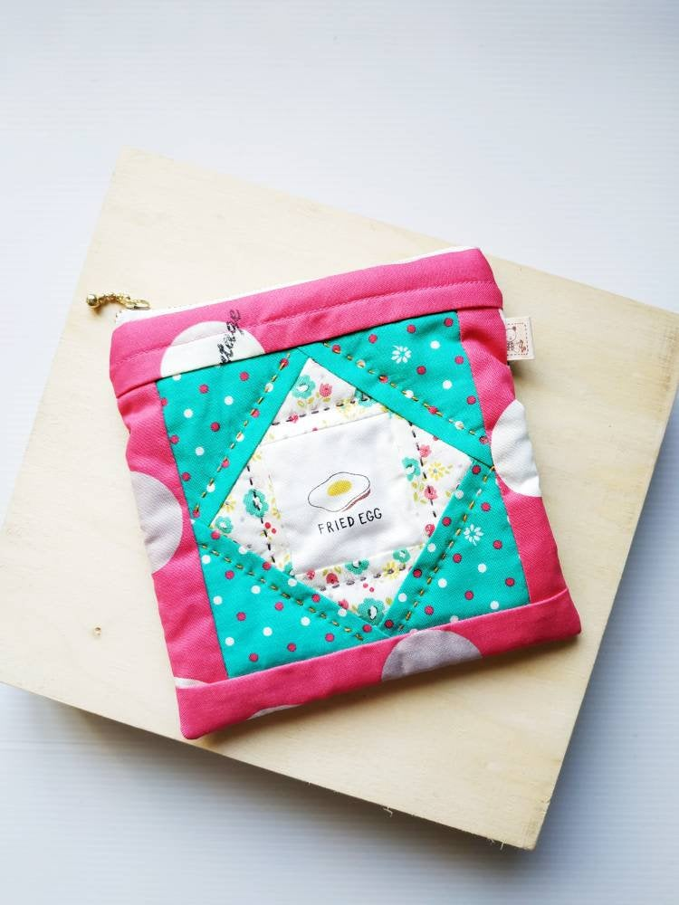 Egg square patchwork zip pouch