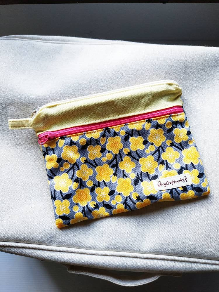Floral double zipper pouch