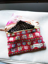Load image into Gallery viewer, Elephant pink checker double zipper pouch