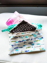 Load image into Gallery viewer, Plane helicopter double zipper pouch