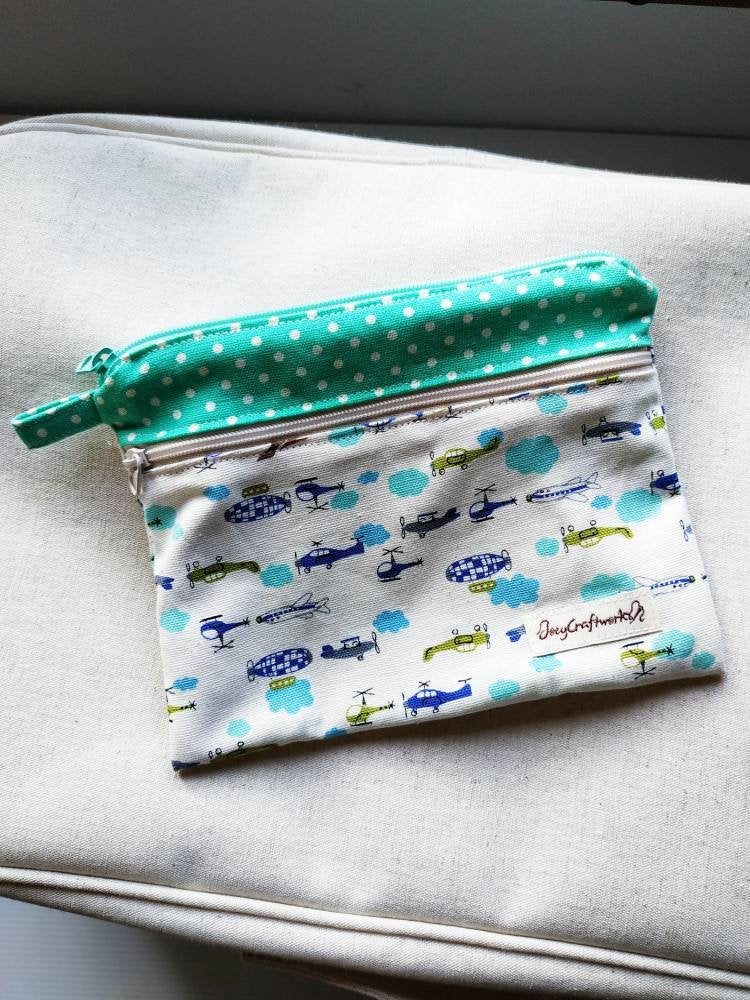 Plane helicopter double zipper pouch