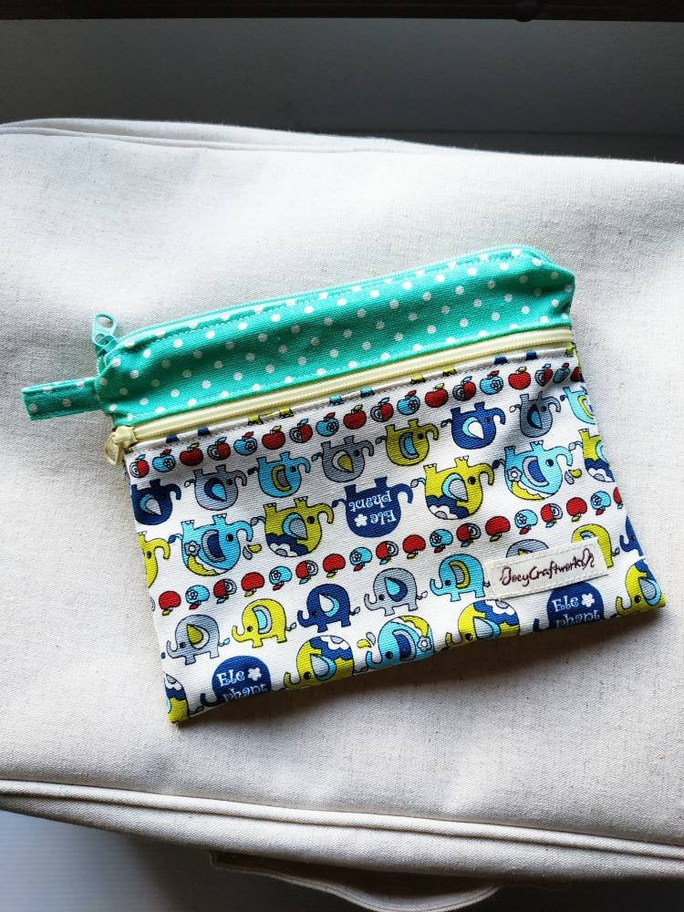 Elephant blue double zipper pouch