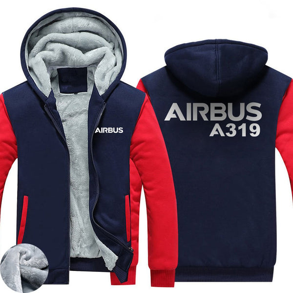 AIRBUS A319 DESIGNED ZIPPER SWEATERS - Red / S - Hoodies