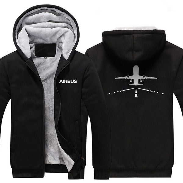 AIRBUS A320 RUNWAY DESIGNED ZIPPER SWEATERS - Black / S -