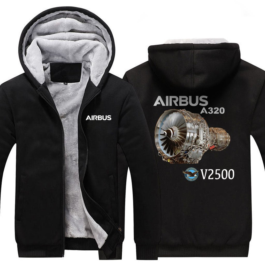 AIRBUS A320 V2500 DESIGNED ZIPPER SWEATERS - Black / S -