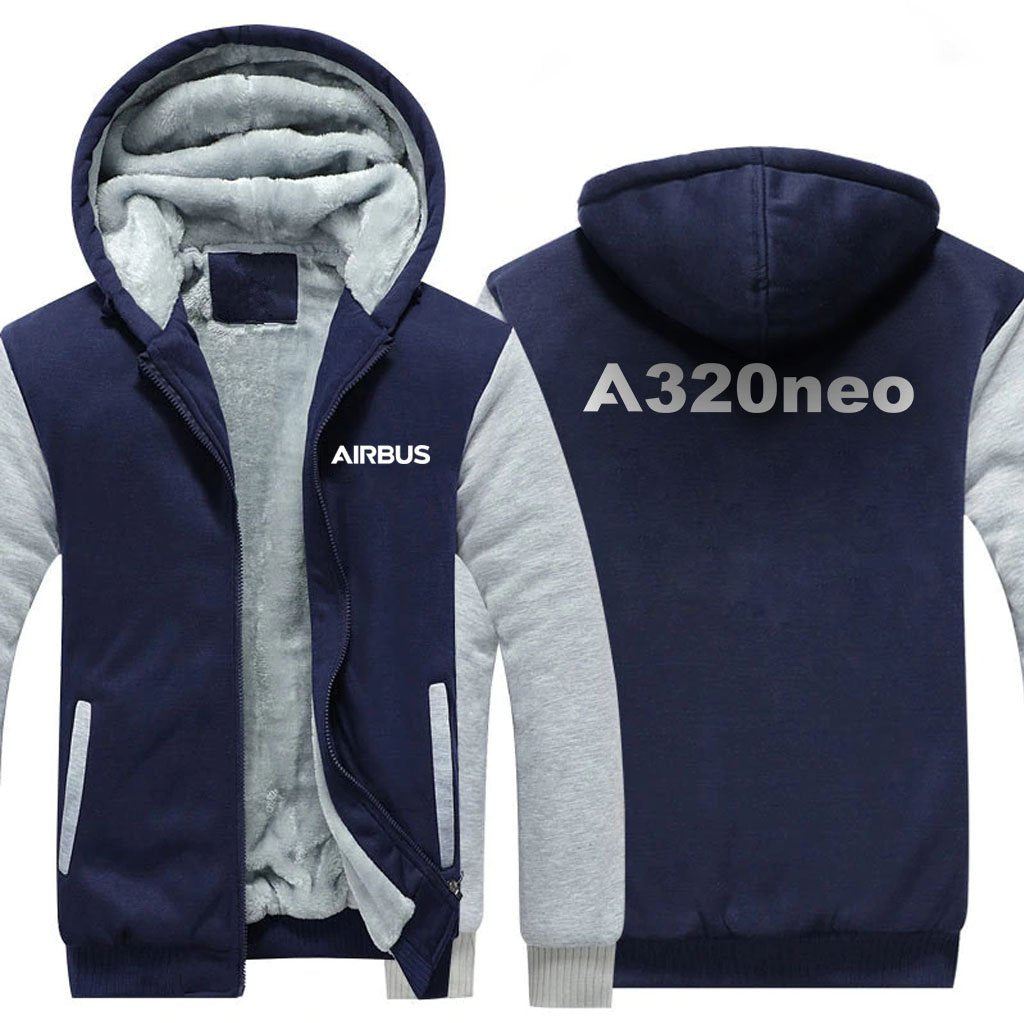 AIRBUS A320NEO DESIGNED ZIPPER SWEATERS - Blue / S - Hoodies