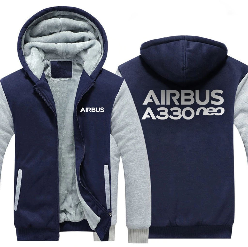 AIRBUS A330NEO DESIGNED ZIPPER SWEATERS - Blue / S - Hoodies