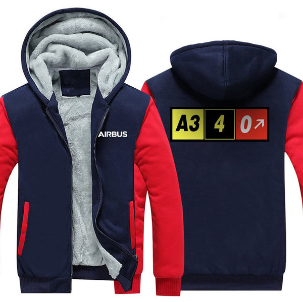 AIRBUS A340 DESIGNED ZIPPER SWEATERS - Red / S - Hoodies