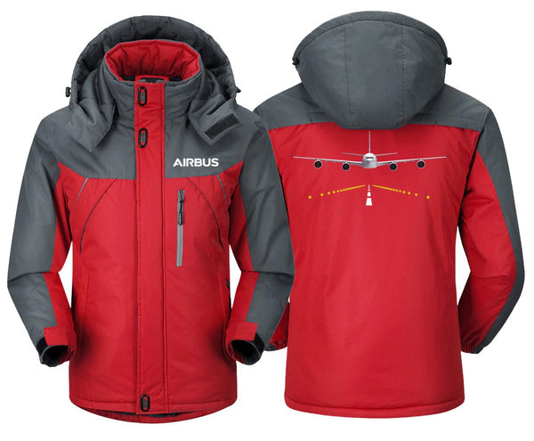 AIRBUS A340 RUNWAY LIGHT DESIGNED WINDBREAKER - Red Gray /