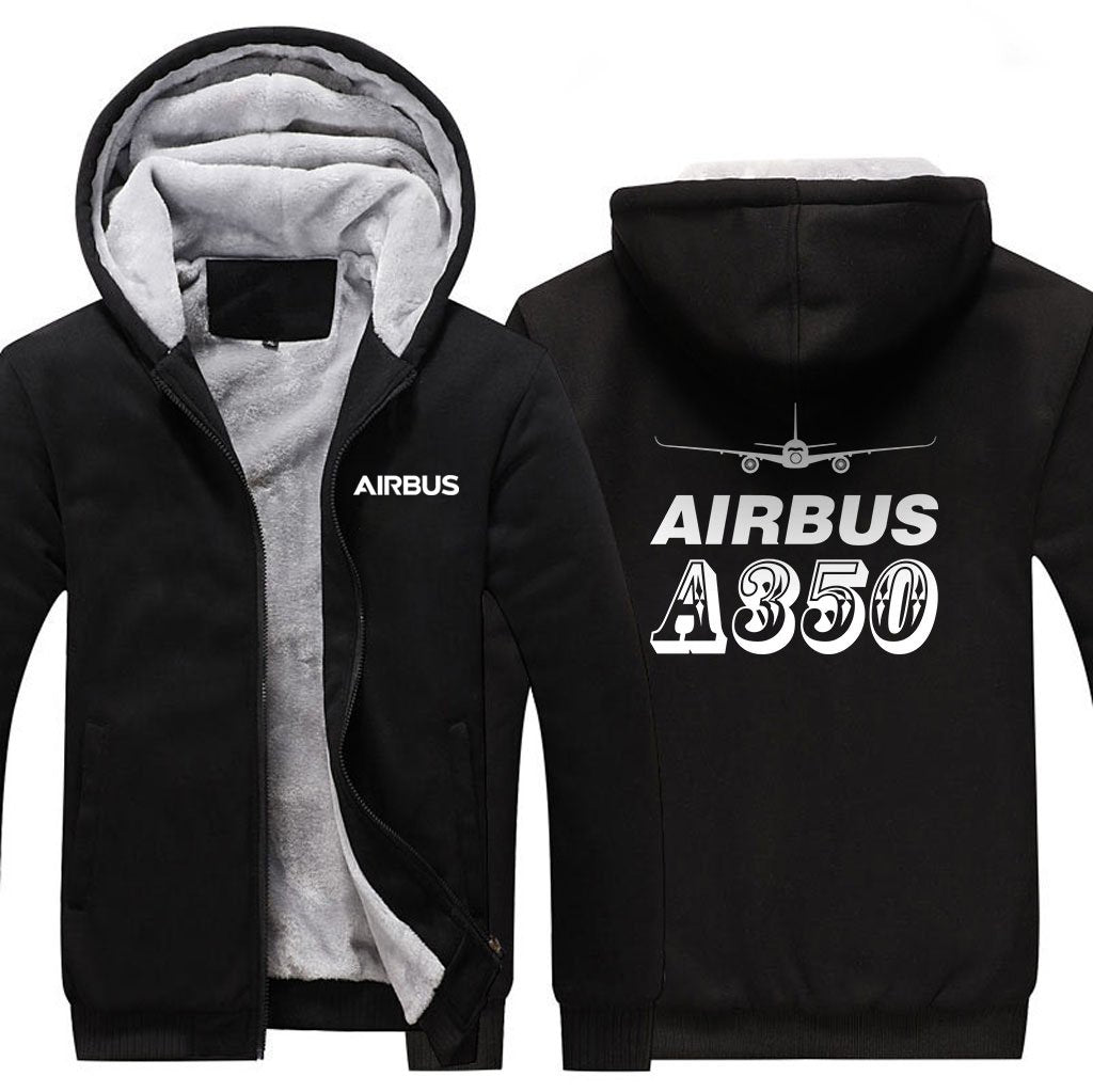 AIRBUS A350 DESIGNED ZIPPER SWEATERS - Black / S - Hoodies