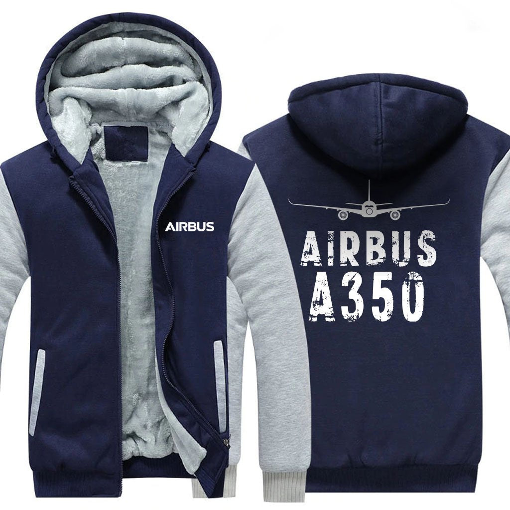 AIRBUS A350 DESIGNED ZIPPER SWEATERS - Blue / S - Hoodies