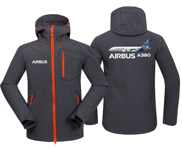 AIRBUS A380 DESIGNED FLEECE - Dark Gray / S - Hoodie Jacket