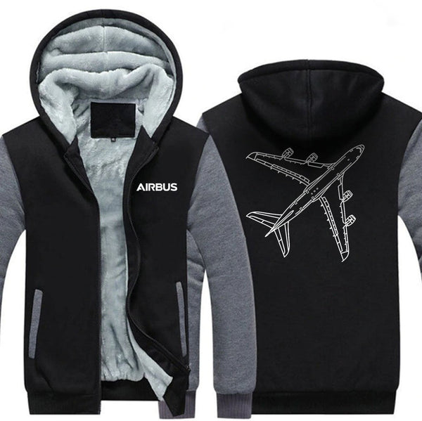AIRBUS A380 DESIGNED ZIPPER SWEATERS - Black Gray / S -