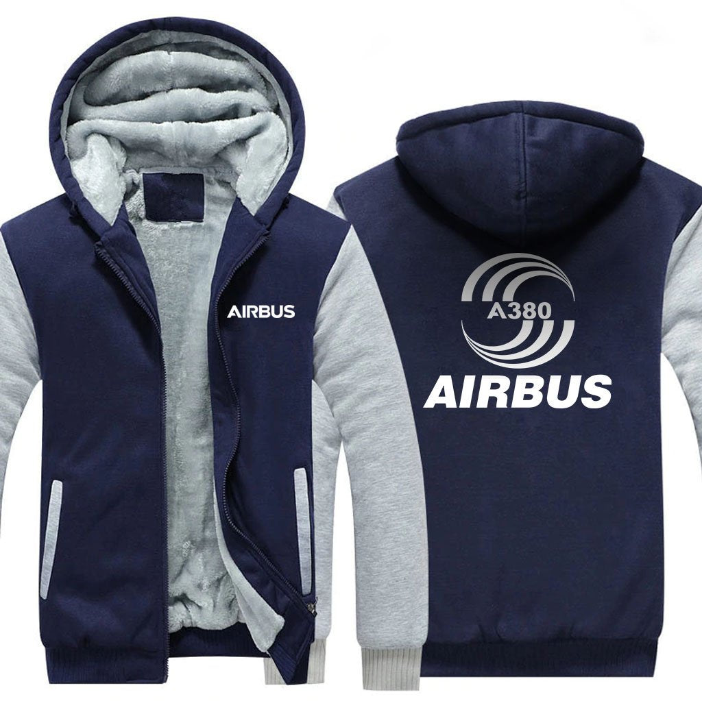 AIRBUS A380 DESIGNED ZIPPER SWEATERS - Blue / S - Hoodies
