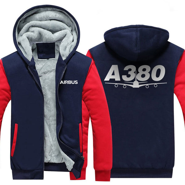 AIRBUS A380 DESIGNED ZIPPER SWEATERS - Red / S - Hoodies