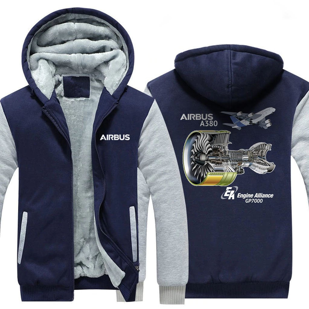 AIRBUS A380 GP7000 DESIGNED ZIPPER SWEATERS - Blue / S -