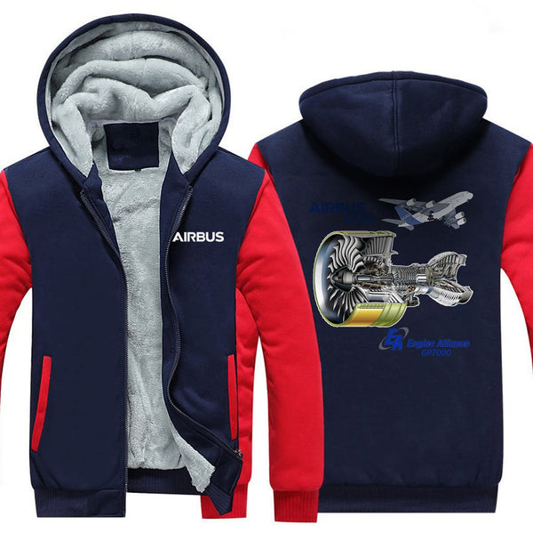 AIRBUS A380 GP7000 DESIGNED ZIPPER SWEATERS - Red / S -