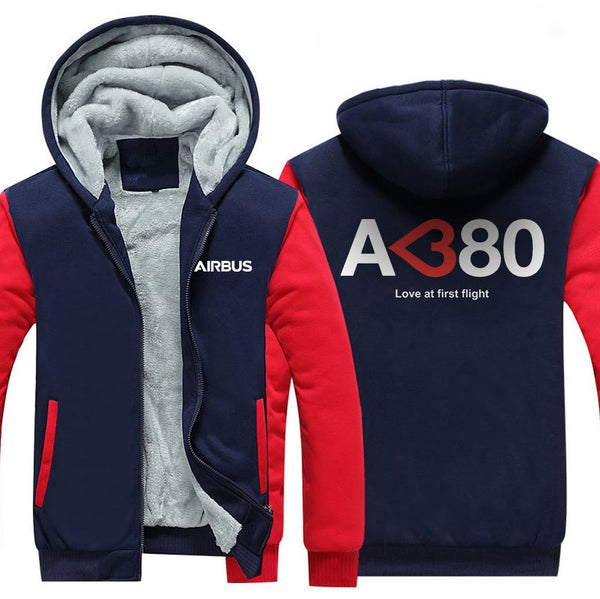 AIRBUS A380 LOVE AT FIRST FLIGHT ZIPPER SWEATERS - Red / S -