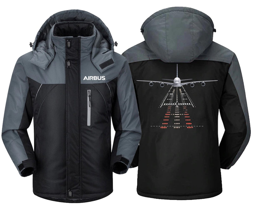 AIRBUS A380 RUNWAY DESIGNED WINDBREAKER - Black Gray / XS -