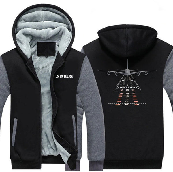 AIRBUS A380 RUNWAY DESIGNED ZIPPER SWEATERS - Black Gray / S