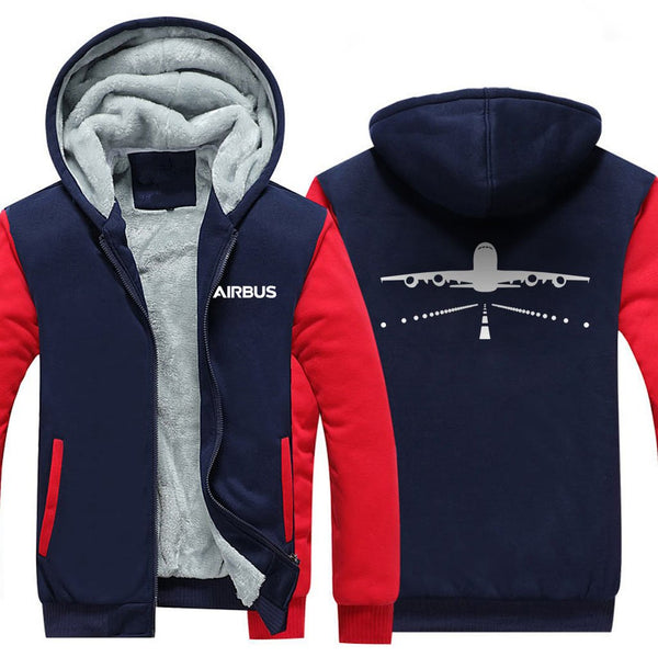 AIRBUS A380 RUNWAY DESIGNED ZIPPER SWEATERS - Red / S -