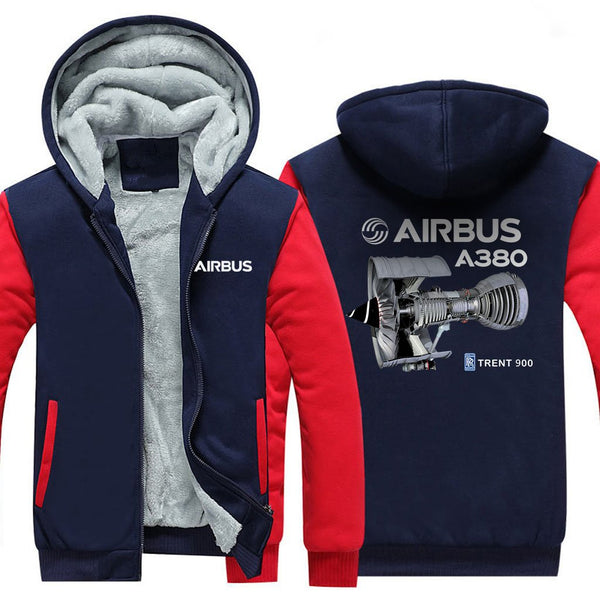 AIRBUS A380 TRENT 900 DESIGNED ZIPPER SWEATERS - Red / S -