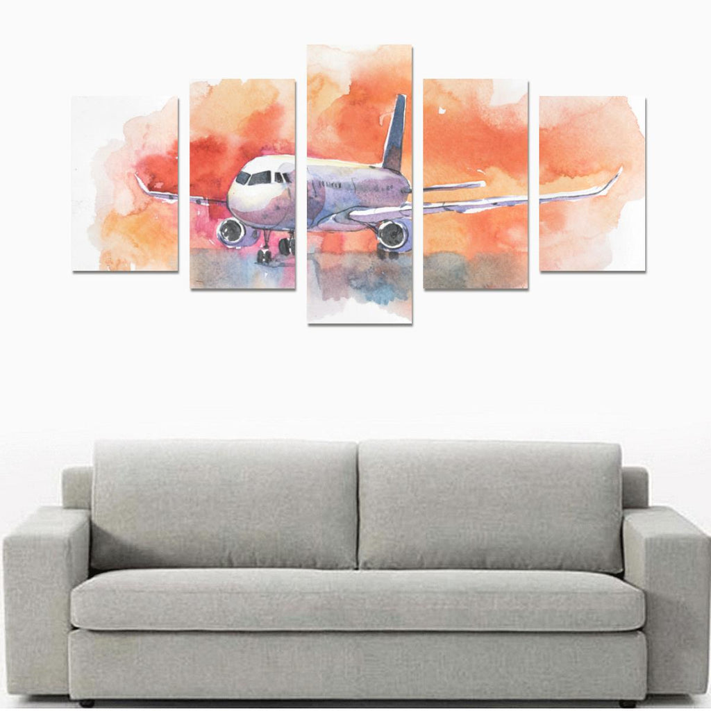 AIRCRAFT. AIRPLANE FLYING IN THE CLOUDY SKY. PASSE CANVAS