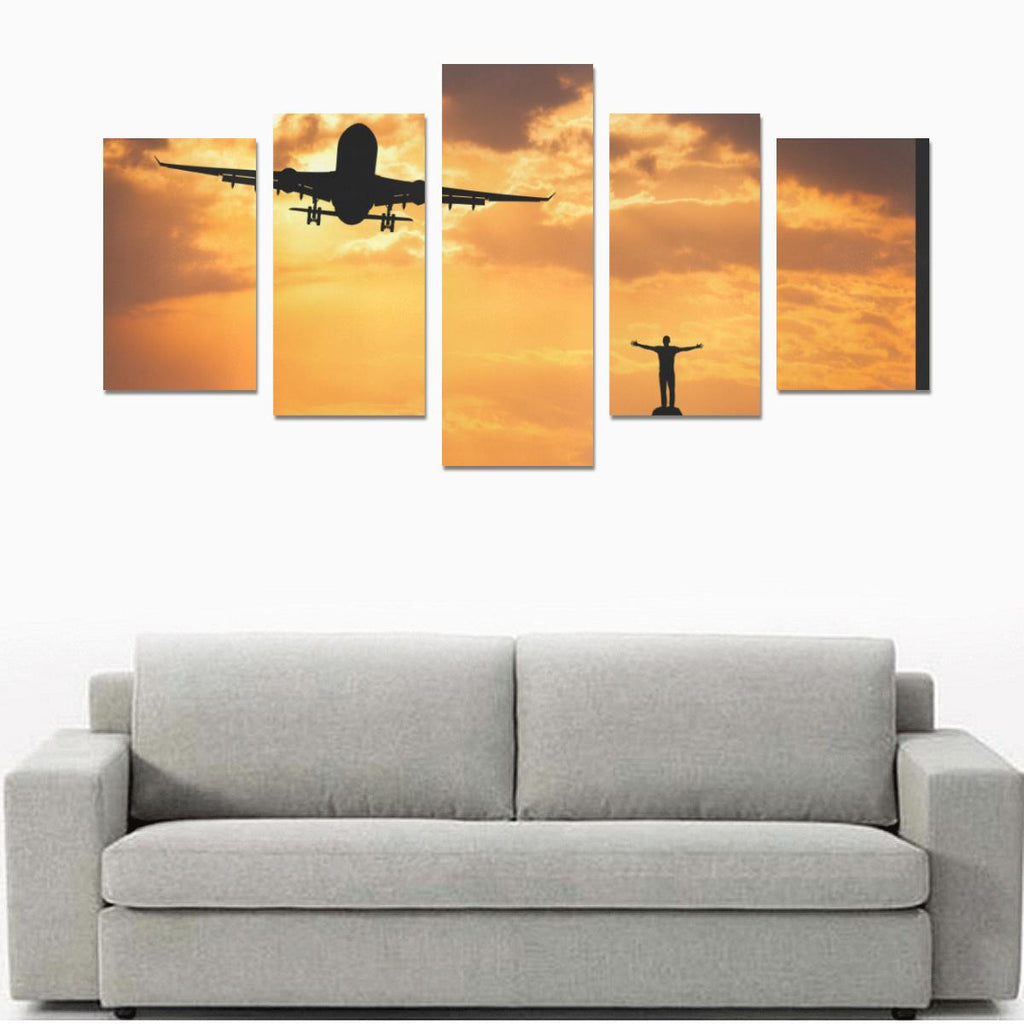 AIRPLANE AND SILHOUETTE OF AIRBUS STANDING HAPPY MAN. CANVAS