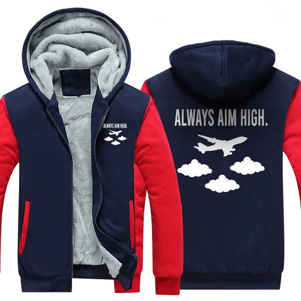 ALWAYS AIM HIGH ZIPPER SWEATER - Red / S - Hoodies