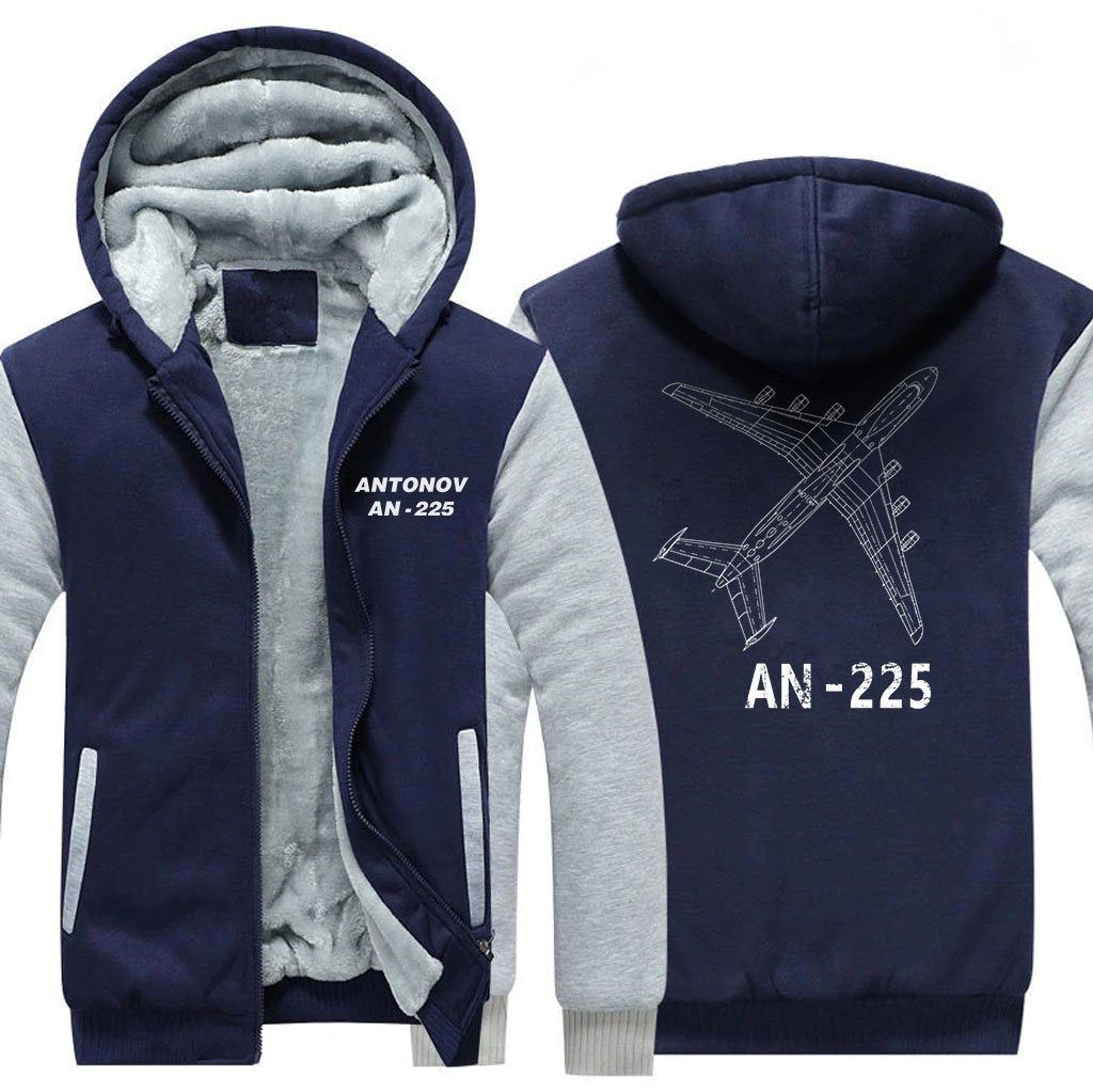 ANTONOV AN-225 DESIGNED ZIPPER SWEATER - Blue / S - Hoodies