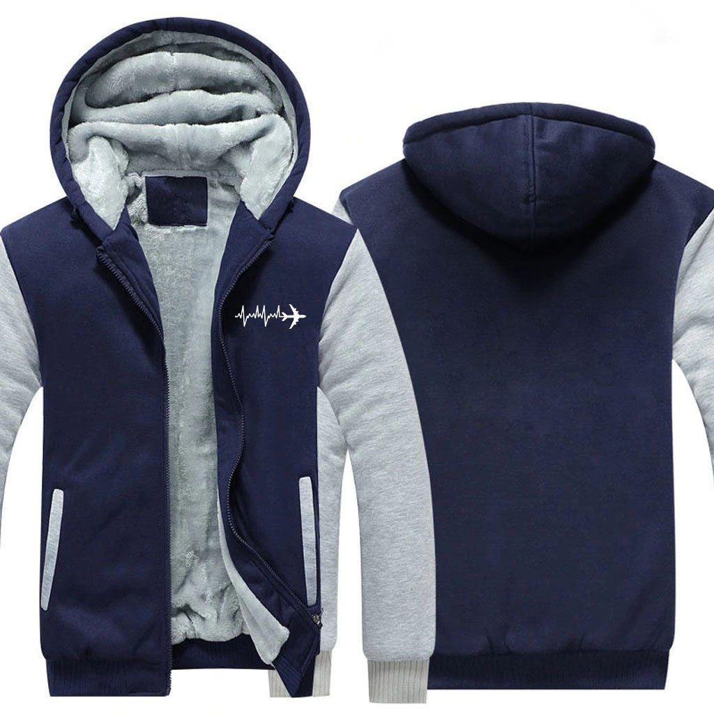 AVIATION HEARTBEAT DESIGNED ZIPPER SWEATER - Blue / S -
