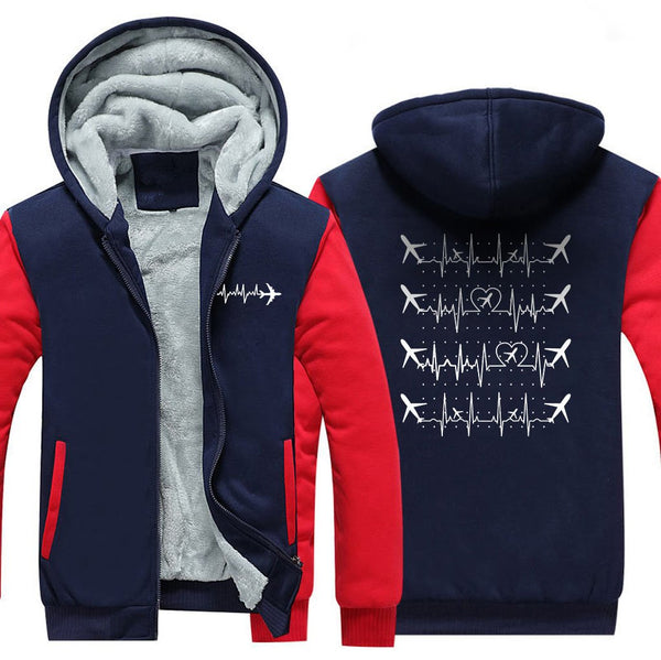 AVIATION HEARTBEAT ZIPPER SWEATER - Red / S - Hoodies