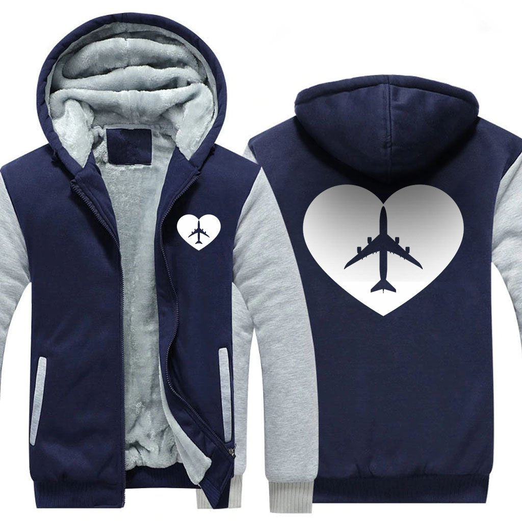 AVIATION LOVER ZIPPER SWEATER - Blue / S - Hoodies