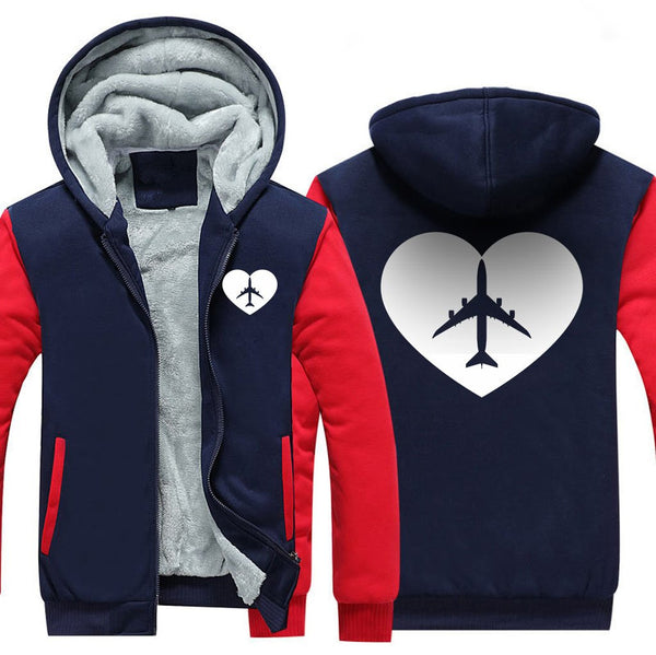 AVIATION LOVER ZIPPER SWEATER - Red / S - Hoodies