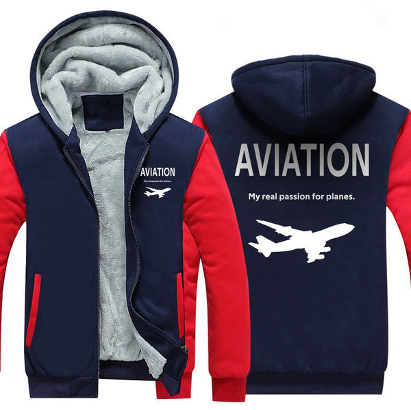 AVIATION MY REAL PASSION FOR PLANES ZIPPER SWEATER - Red / S