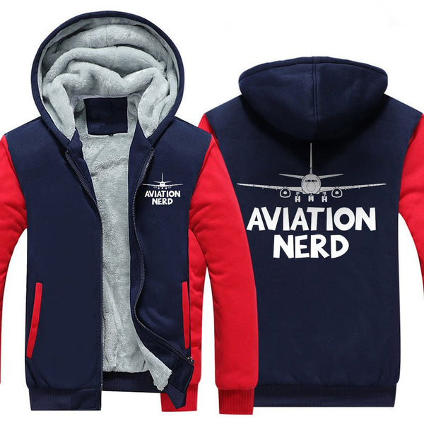 AVIATION NERD ZIPPER SWEATER - Red / S - Hoodies